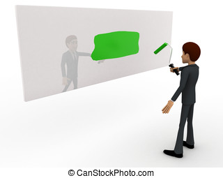 3d man paint green on wall concept