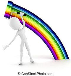 3d man painting a rainbow