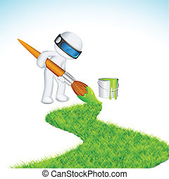 3d Man painting Road - illustration of 3d man in vector...