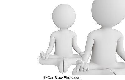 3D man perform meditation as yoga