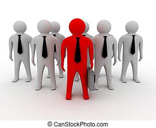 3d man person together leader