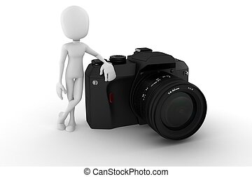 3d man photographer, on white background