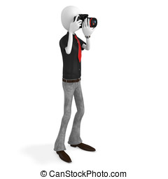 3d man photographer with dslr camera
