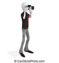3d man photographer with dslr camera