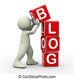 3d man placing blog cubes