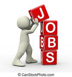 3d man placing jobs cubes - 3d render of person placing jobs...