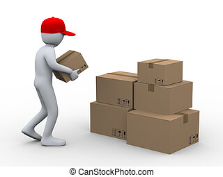 3d man placing parcel boxes - 3d illustration of person...