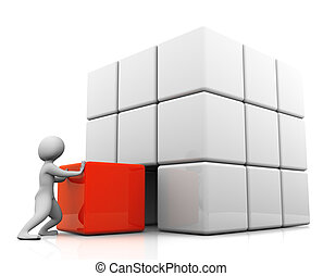 3d man placing red cube - 3d man pushing last red cube