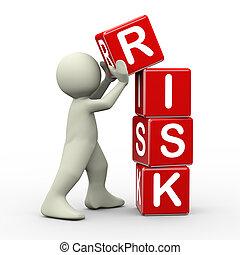 3d man placing risk cubes - 3d render of person placing risk...