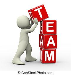 3d man placing team cubes