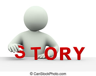 3d man placing word story