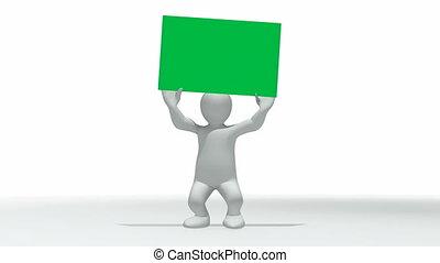 3d-man, plakat, zielony