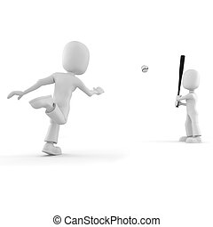 3d man playing baseball, isolated on white
