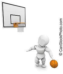3D man playing basketball