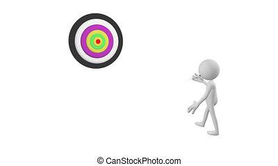3D man playing darts