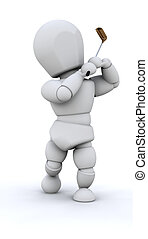 3D Man Playing golf