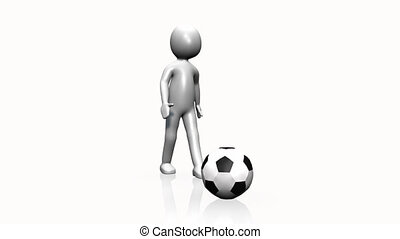 3D man playing soccer against a white background