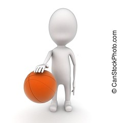 3d man playing with basket ball concept