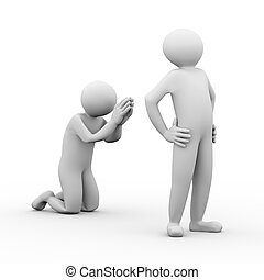3d illustration of person begging to boss and asking for mercy. 3d human person character and white people.