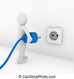 3d man plug socket blue