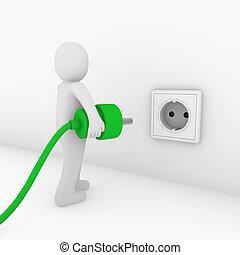 3d man plug socket green