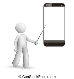 3d man pointing at a mobile phone