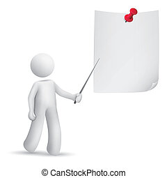 3d man pointing at the note with a stick