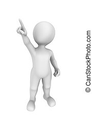 3d man pointing finger up. 3d rendered illustration with small people.