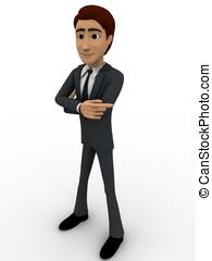 3d man pointing in one direction concept