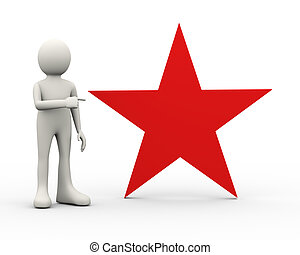 3d man pointing to red big star