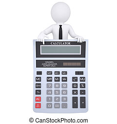 3d man points finger at calculator - 3d white man points a...