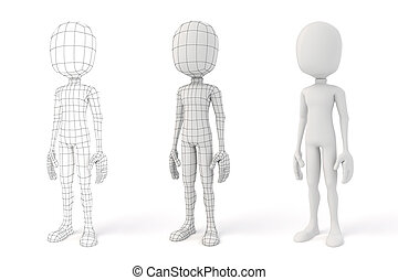 3d man posingon white background showing the geometry edges