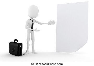 3d man presenting a blank document