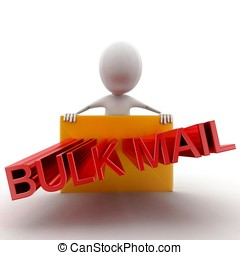 3d man presenting a mail- letter - bulk mail text projecting...