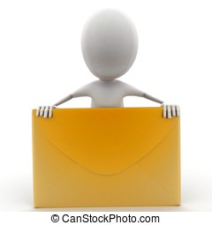 3d man presenting a mail- letter concept