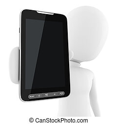 3d man presenting a new cell phone