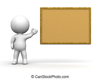 A 3d guy showing a large cork board. Isolated on white.