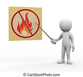 3d man presenting explaining no fire and flame