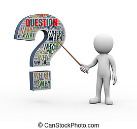 3d rendering of explaining man pointing with stick presentation of question mark sign symbol shape wordcloud tags. white person people illustration