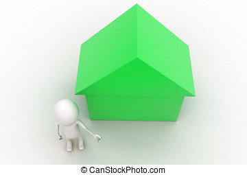 3d man presenting green house sign concept