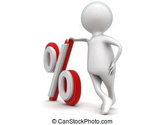 3d man presenting percentage sign concept