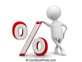 3d man presenting percentage sign concept