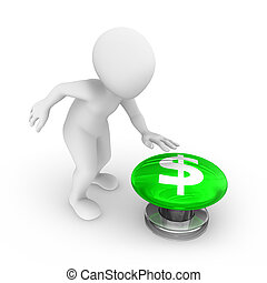 3d man presses the button. with dollar symbol.