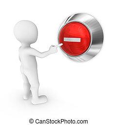 3d man presses the button with minus symbol.