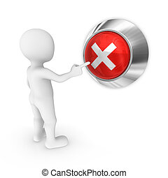 3d man presses the button with negative symbol.
