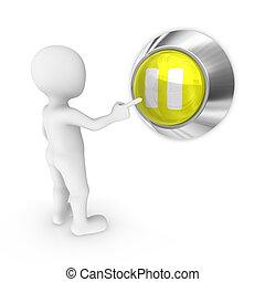 3d man presses the pause button. 3d illustration.