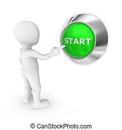 3d man presses the start button.