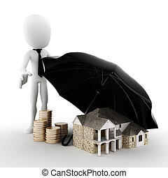 3d man -  Property insurance concept