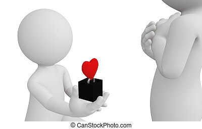 3d man propose his girlfriend with red heart ring isolated...