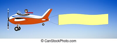 3d man pulling banner with plane - 3d man pulling clear...
